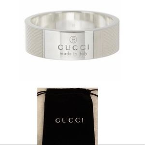 NWT Gucci Made in Italy Silver Trademark Band Ring